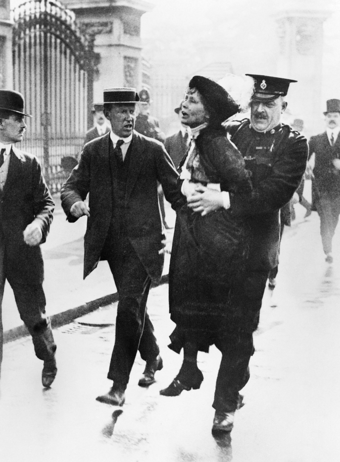Emmeline Pankhurst, one of the leaders of the suffragette movement, is being arrested in front of the Buckingham palace as she was trying to present a petition to the king George V, in May 1914