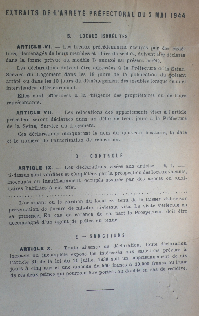 Opportunities And Antisemitism Housing In Paris 1943 1944 Politika