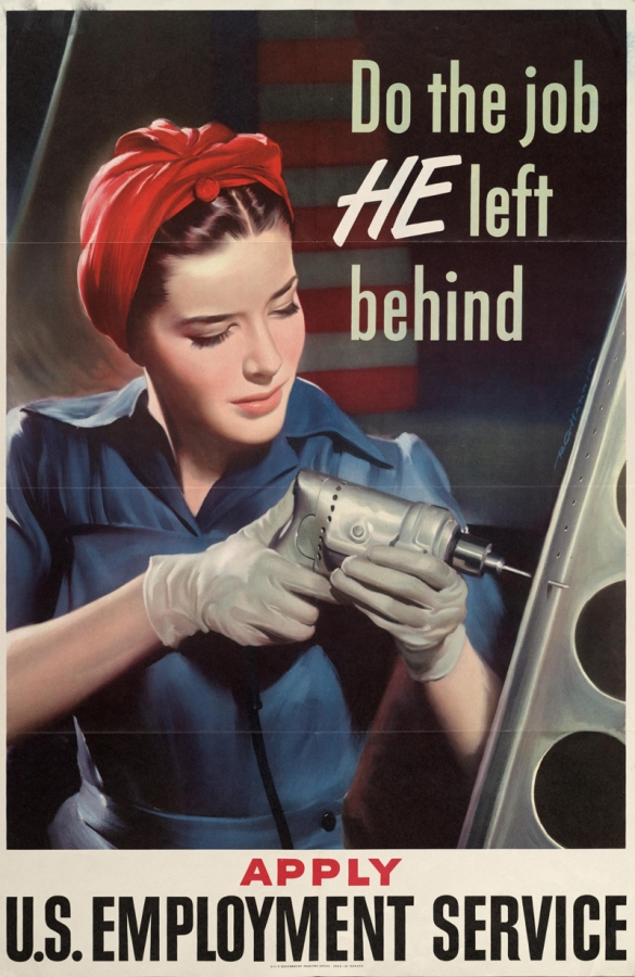Do the Job HE Left Behind - Apply U.S. Employment Service (poster, United States, 1941)