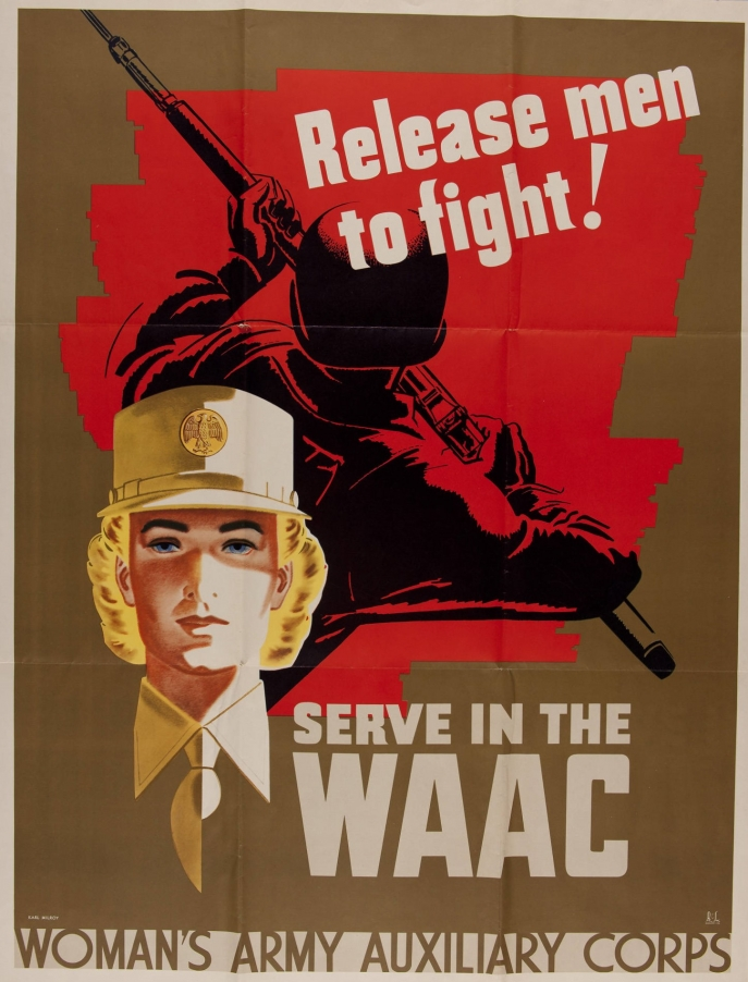 Release Men to Fight ! Serve in the WAAC - Woman's Army Auxiliary Corps (poster, United States, 1942)