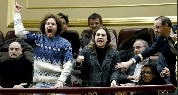 In February 2013, interruption of parliamentary order by two PAH activists, Ada Colau and Iván Ramírez