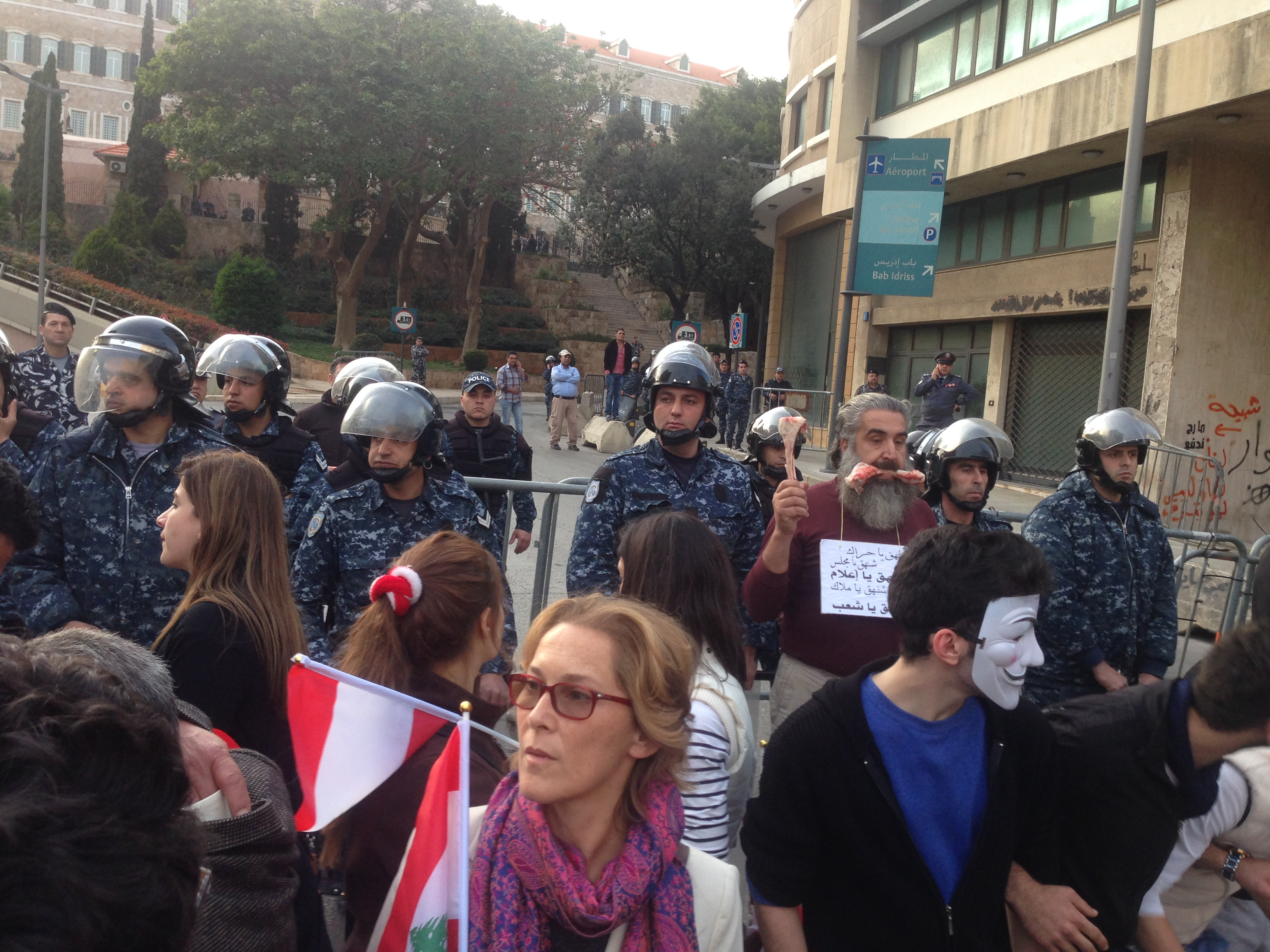 Demonstrators and police forces in Beirut streets in 2015