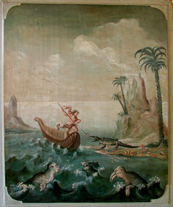 "The paintings decorating two doors in the ""Old Pharmacy"" in Calw, in their original arrangement. Here Fig. 2b: the sea: regnum animale, 71*58cm"